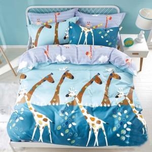 Modré ložní povlečení pro děti se žirafami