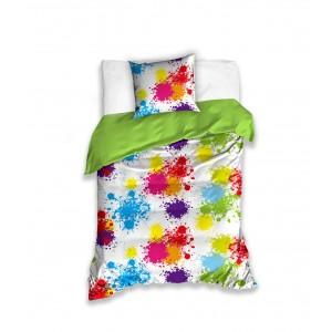 Moderní povlak pro děti bílé barvy s barevnými kaňkami