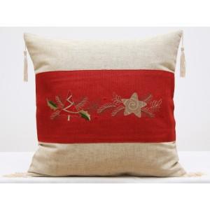Povlak na polštář s červeným vánočním vzorem