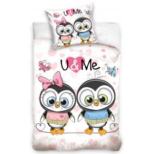 Oboustranní dětské povlečení na postel U & ME v bílo růžové barvě