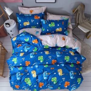 Dětské povlečení na postel v modré barvě s kreslenými postavičkami