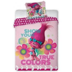 Bavlněné povlečení na postel pro děti v růžové barvě TROLLS