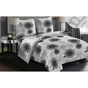 Oboustranné povlečení na postel v šedé barvě s černým vzorem