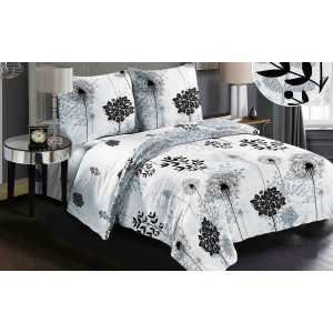 Oboustranné povlečení do ložnice v bílé barvě s motivem rostlin