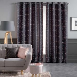Luxusní tmavě šedé závěsy ve skandinávském stylu s originálním motivem