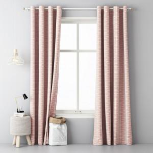 Originální hotové závěsy do obýváku v růžové barvě s bílým vzorem