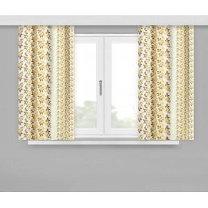 Hotové žluté závěsy do kuchyně 160x170cm s motivem květů