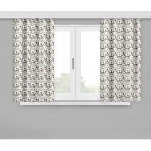 Moderní krátké závěsy v šedé barvě 160x170 cm s malými béžovými květy