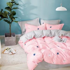 Jednoduché ložní povlečení z bavlny v růžové barvě s motivem květů