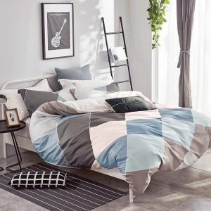 Moderní oboustranné povlečení na postel v hnědé barvě s barevným vzorem
