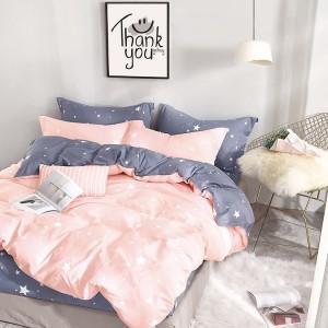 Kvalitní jednoduché povlečení do ložnice v růžové barvě s bílými hvězdičkami