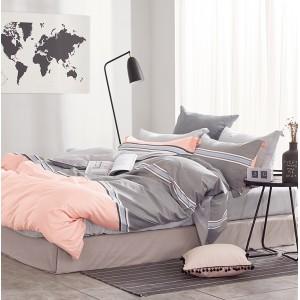Retro povlečení na postel v šedé a růžové barvě s pruhy
