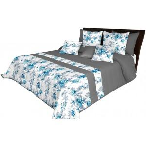 Bílo šedý moderní přehoz na postel s tyrkysovými květy
