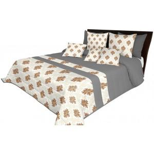 Luxusní přehoz na postel v šedé a béžové barvě s hnědými ornamenty