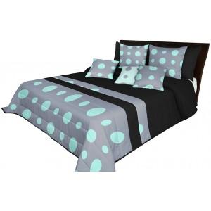 Kvalitní prošívané přehozy postel v černé barvě s mátově šedým motivem