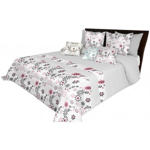 Světle šedý luxusní přehoz na postel s prošíváním a motivem růžových květů