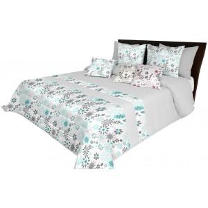 Kvalitní prošívaný přehoz na postel v světle šedé barvě s tyrkysovými květy