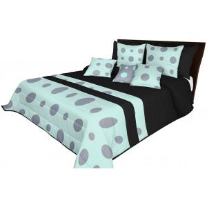 Moderní přehoz na postel s prošíváním v černo mátové barvě s šedými kruhy
