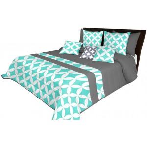 Originální šedý přehoz na postel s bílo tyrkysovým vzorem