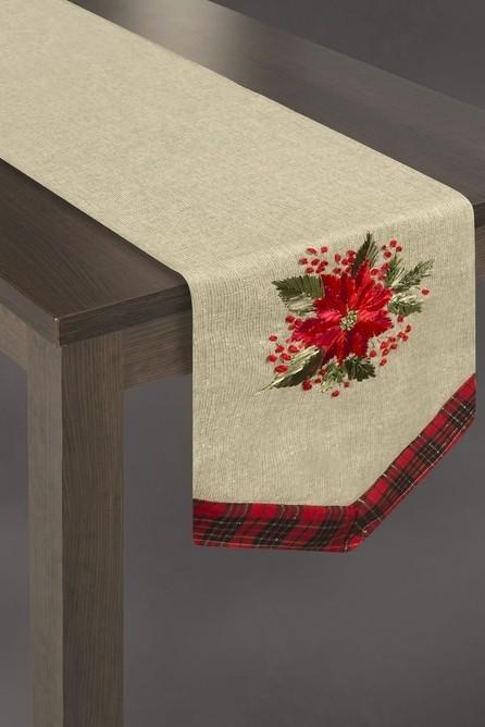 Vánoční šál na stůl ve zlaté barvě s červenými květy