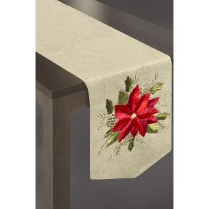 Běhoun na stůl v béžové barvě s červeným květem