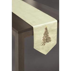 Krémové vánoční prostírání na stůl s vánočním stromečkem