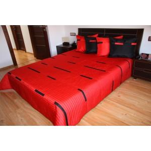 Přehoz na postel sytě červené barvy s černými pruhy
