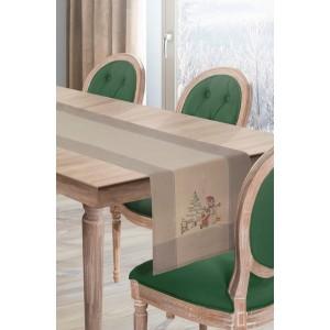 Originální běhoun na stůl na Vánoce v béžové barvě s vánočním motivem
