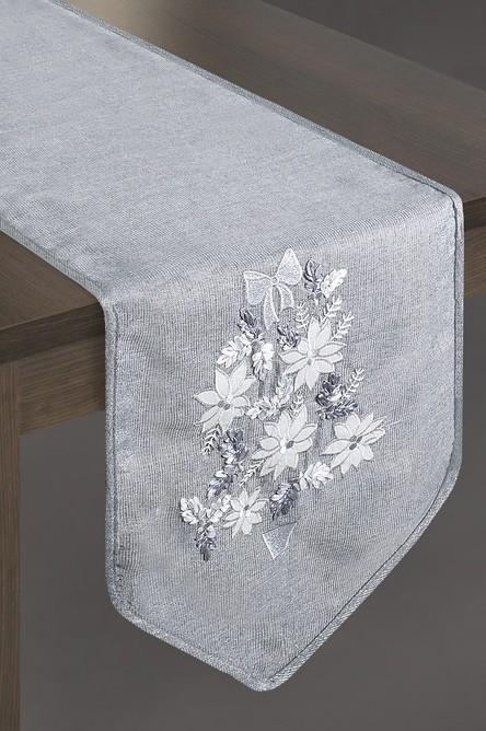 Vánoční šál na stůl v šedé barvě s kyticí květin