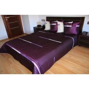 Přehoz na postel tmavě fialové barvy s bílými pruhy