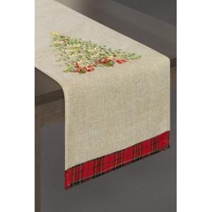 Vánoční šál na stůl v béžové barvě s vánočním stromkem a červeným ornamentem na konci