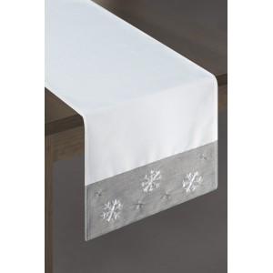 Běhoun na stůl v bílé barvě s šedým zakončením a sněhovými vločkami