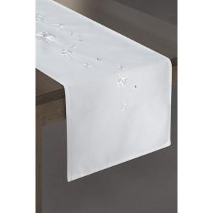 Bílé prostírání na stůl s motivem sněhových vloček