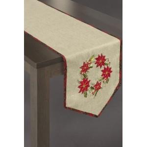Béžové vánoční prostírání na stůl s věncem červených květů