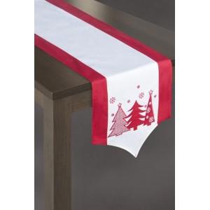 Vánoční prostírání na stůl v bílo červené barvě se třemi stromky