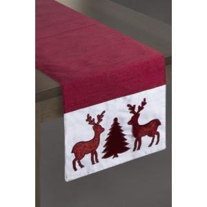 Vánoční běhoun na stůl v červené barvě s motivem stromečku a sobů