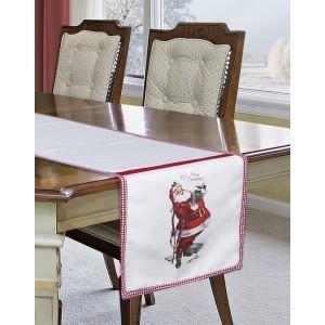 Vánoční šál na stůl široký 40cm v bílé barvě se Santa Clausem
