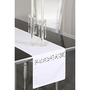 Bílé slavnostní prostírání na stůl se stříbrným motivem
