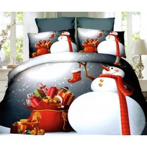 Vánoční ložní povlečení s motivem sněhuláka