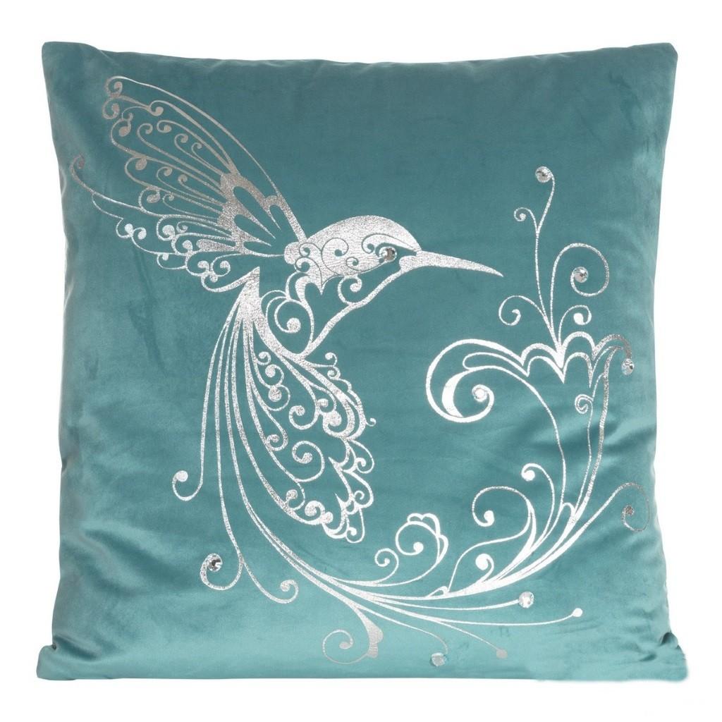 Tyrkysový povlak na polštář s velkým stříbrným ptákem