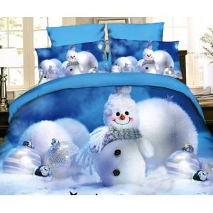 Modré povlečení s vánočním motivem