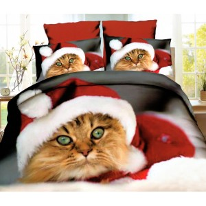 Vánoční ložní povlečení s motivem kočky