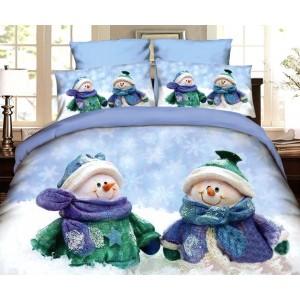 Modré ložní povlečení s vánočním motivem