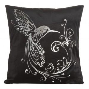 Elegantní povlak na polštáře černé barvy s ptákem a květem