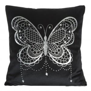 Elegantní povlak na polštář v černé barvě s motivem velkého motýla