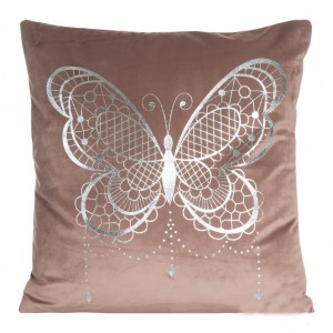 Moderní povlak na polštáře v tmavě růžové barvě s motivem motýla