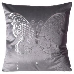 Luxusní šedý povlak na polštář s motivem stříbrného motýla