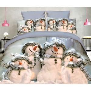 Povlečení do ložnice na Vánoce v šedé barvě se čtyřmi sněhuláky
