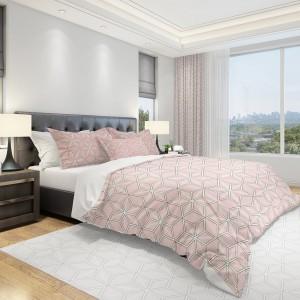Moderní povlečení do ložnice v růžové barvě s motivem kostek