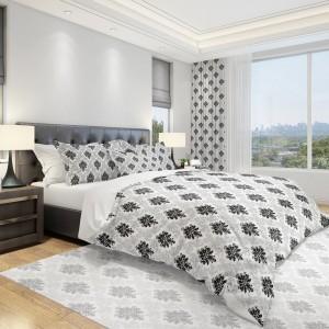 Luxusní ložní povlečení v šedé barvě s abstraktním tmavě šedým vzorem